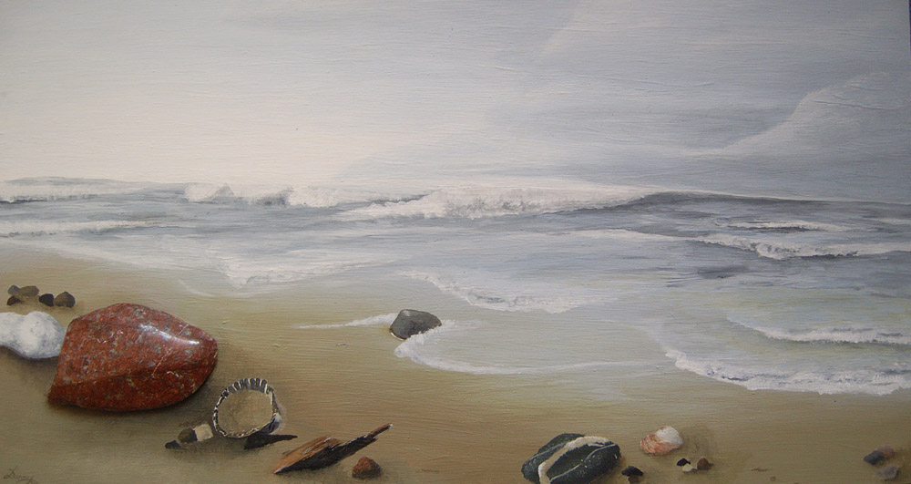 strandgut  meer acrylmalerei landschaft see von enigma